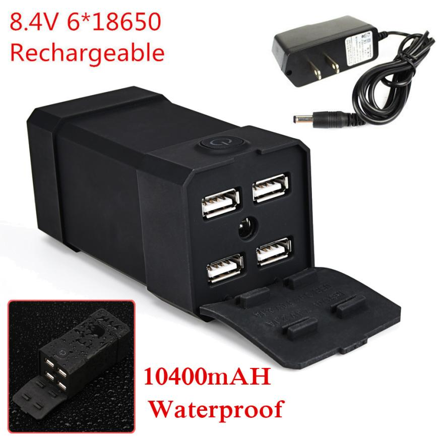 8.4V USB Rechargeable 10400mAh 4X18650 Battery Pack For Bicycle light Bike Outdoor Sport Bike Bicycle Cycling Accessories Jan 17 rechargeable 3000mah 8 4v 4 x 18650 2s2p battery pack for bicycle light black