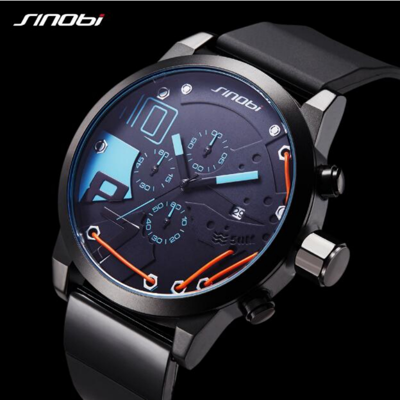 Top Brand SINOBI Chronograph Sport Watches Silicone Military Watch Men Watch Auto Date Men's Watch Clock saat relogio masculino skone chronograph 6 hands 24 hours function men sport watch silicone luxury watch men top brand military watch auto date relogio