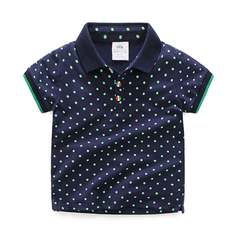 Boys T-Shirt Short-Sleeve Dot-Print Sports Cotton Child Summer Green for 12-Years 3-12tformal