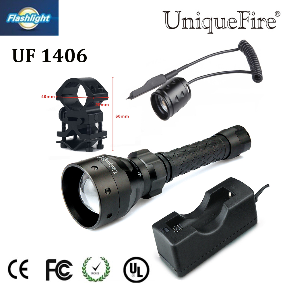 Hunting Flashlight 2016 Uniquefire 1406 850nm IR LED Zoomable Torch+Charger+Tactical Remote+Gun Mount Waterproof Free Ship led hunting flashlight uniquefire green red white light uf 1503 xpe torch alumium metal for outdoor camping free shipping