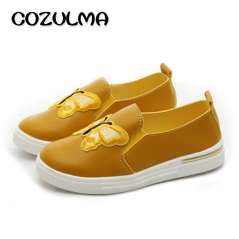 COZULMA Children Canvas Shoes Girls Embroidery Butterfly Fashion Sneakers Summer Autumn Style Kids Flat Causal Shoes 4 Colors