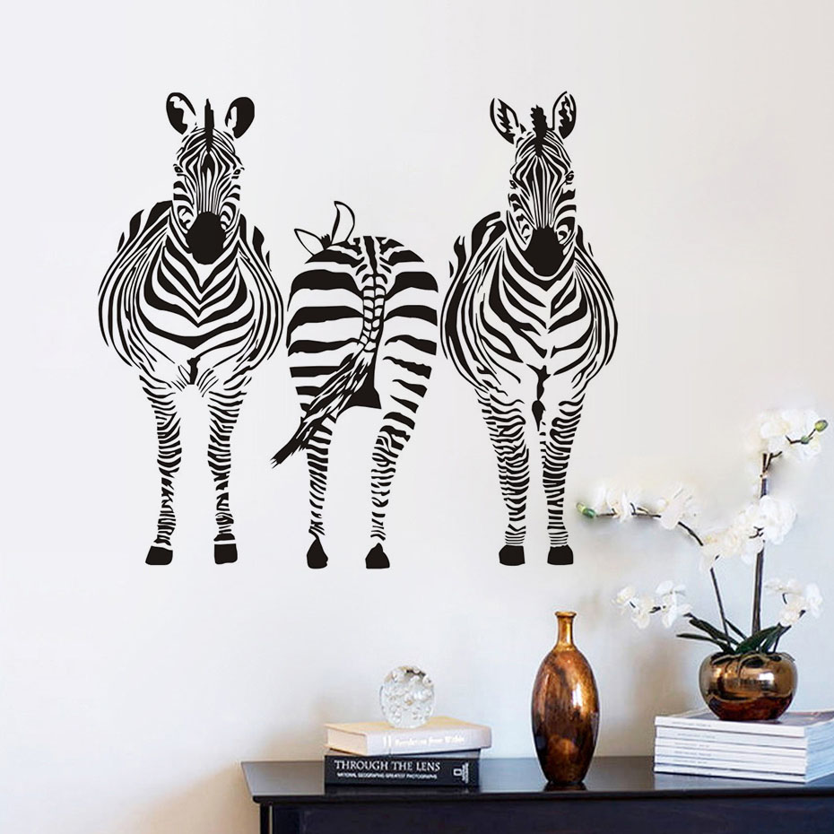 Three Zebra Wall Stickers For Kids Room Decor African Style Nursery Wallpaper Art Decals Home Decoration Accessories In From