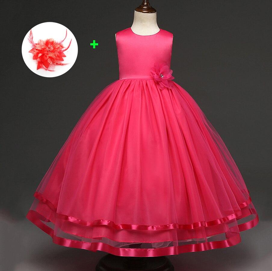 Korean Style Kids Party Gown Prom Wedding Evening Pink Red Sky Blue Princess Flowers Girl Dress Wedding Party Dresses Children blue sky чаша северный олень