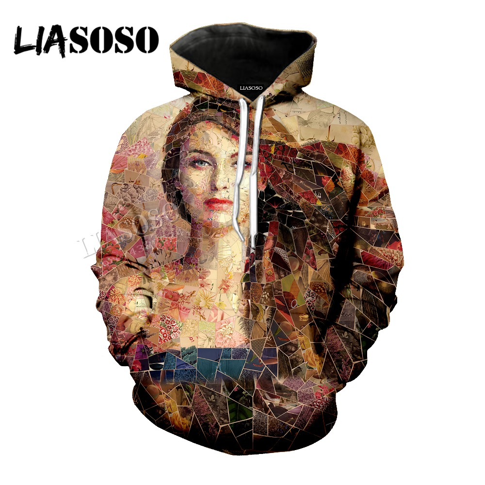 LIASOSO new inlaid art hooded Hat coat neutral casual pullover long-sleeved 3D printing contrast color sweatshirt CX0012