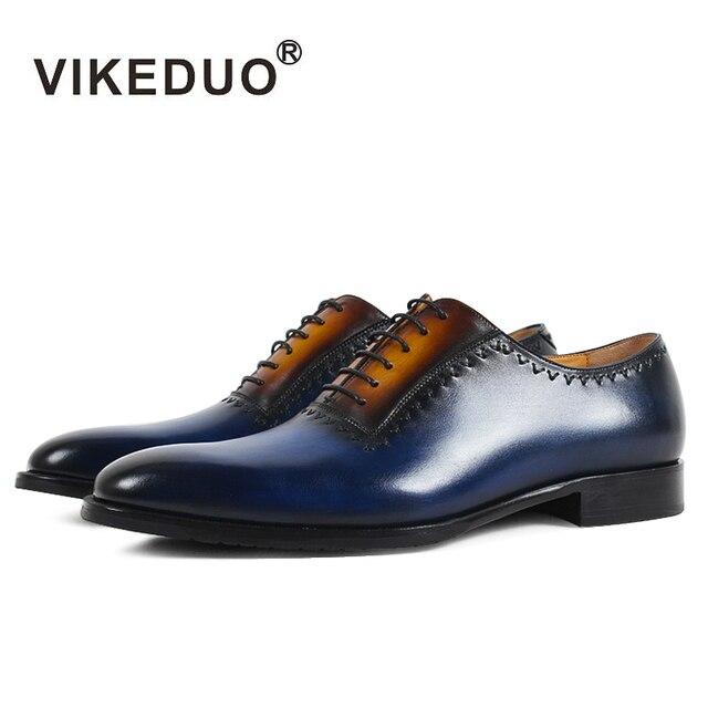 VIKEDUO Luxury Brand Newest Vintage Mens Oxford Shoes Handmade Royal Blue Luxury Party Wedding Dress Patina Shoe Genuine Leather