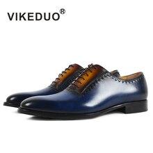 Vikeduo Элитный бренд новые винтажные мужские туфли-оксфорды ручной работы Королевский синий Роскошные партии свадебное платье патина обуви натуральная кожа