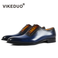 VIKEDUOPure Handmade Breathable Comfortable Oxford Leather Business Casual Leather Shoes Men S Shoes