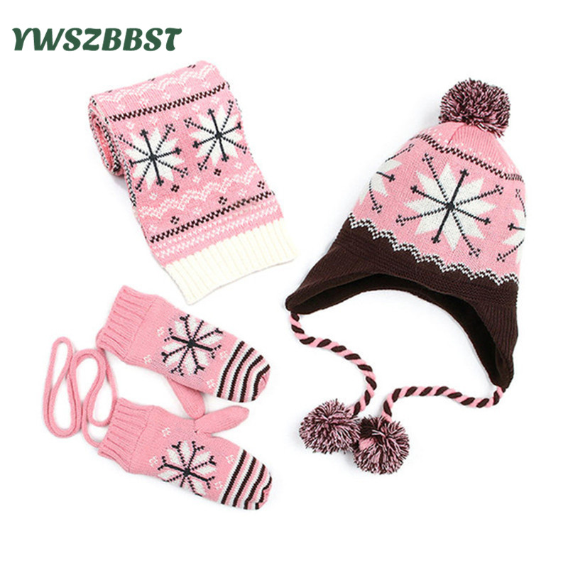 New Fashion Snowflake Baby Hat Scarf for Girls and Boys Crochet Winter Warm Baby Caps Kids Children Hat Scarf Gloves set линза giro giro blok красный