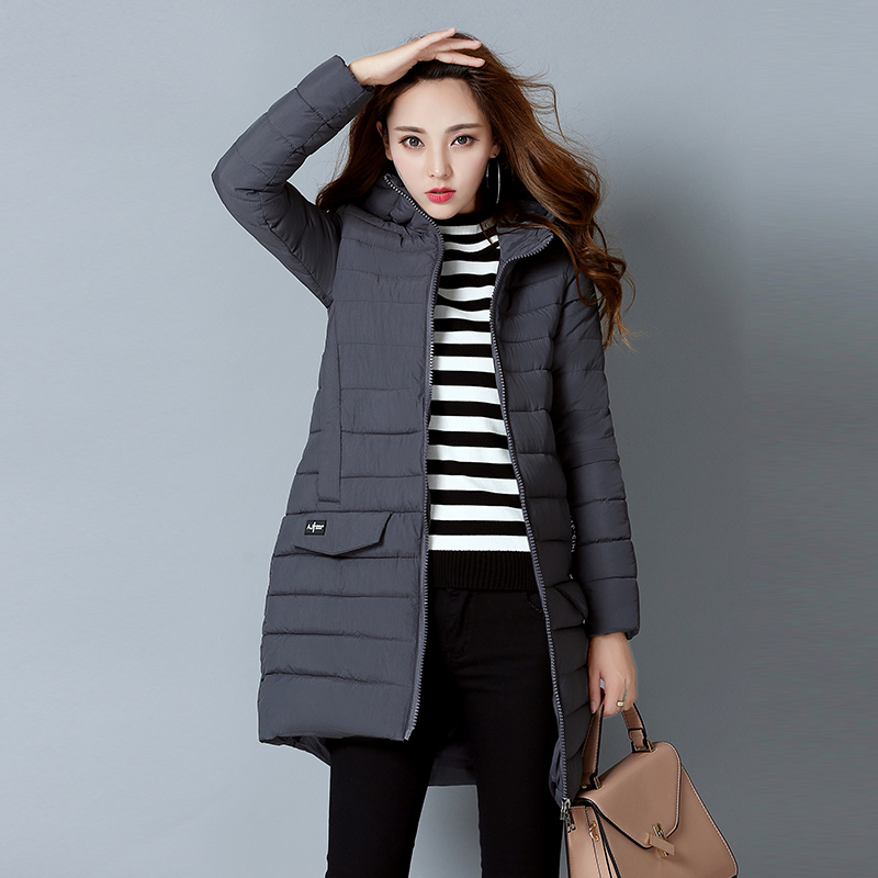 YAGENZ 2017 new Korean women cotton women in the long section of students self-cultivation thick winter jacket cotton women sky blue cloud removable hat in the long section of cotton clothing 2017 winter new woman