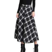 Autumn Winter Women Long Plaid Skirt High Waist Female Woolen Midi Skirt England Style Vintage Classic Saia Fashion Clothing(China)