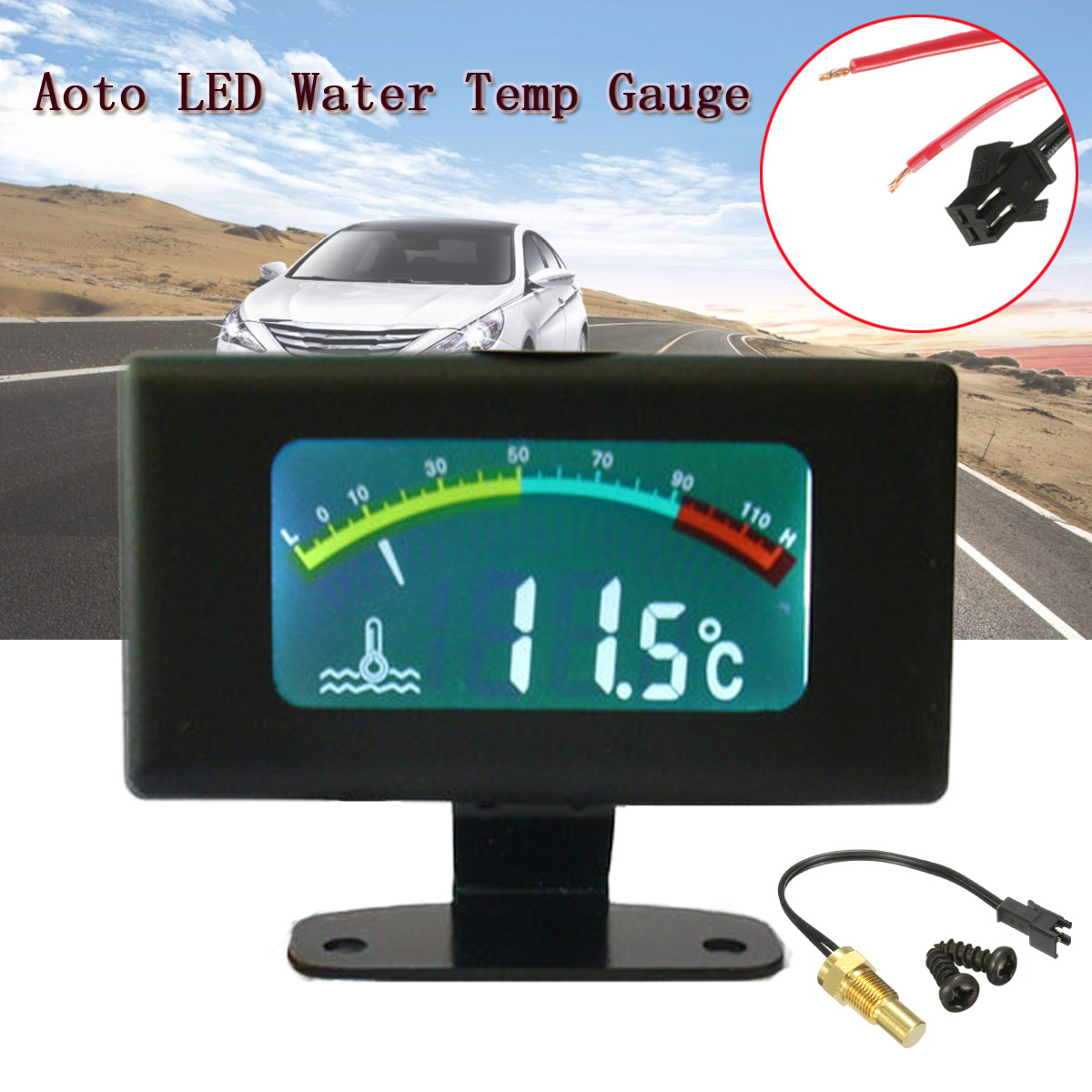 12V / 24V / 36V DC Digital LED Car Water Temp Gauge Automotive Accessories Water Temperature Meter 10mm thread sensor