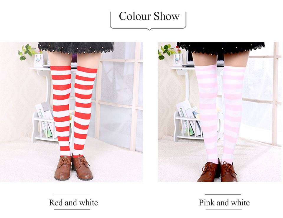 1Pair New Women's Over The Knee Large Size Stockings Sexy Thighs High Stripes Pattern Sock 6 Color Sweet Cute Warm Winter 2019 (3)