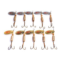 50PCS hard metal sequin spinner spoon fishing lures 7.3g 6.5cm 4#Japan hooks wobble bass fishing tackles pesca fishing baits