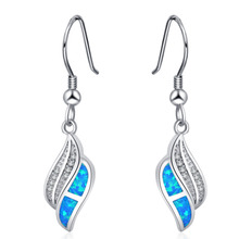 ROLILASON fashion trend white crystal 925 silver stamped drop earrings blue opal wedding gift preferred OE780