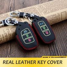 Real Leather Car Key Cover Luminous Key Case for Hyundai Mistra Elantra IX35 IX25 I20 I30
