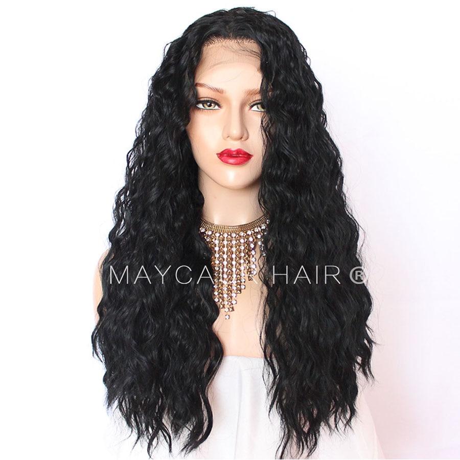 180 Täthet Långt Löst Curly Paryk Med Babyhår Syntetisk Lace - Syntetiskt hår - Foto 5