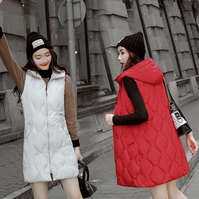 Năm 2018 Thời Trang nữ mùa đông áo Dài dày ấm áp Mùa Thu Có Mũ Tay Áo ghi lê cho nữ dài dây kéo áo vest áo khoác