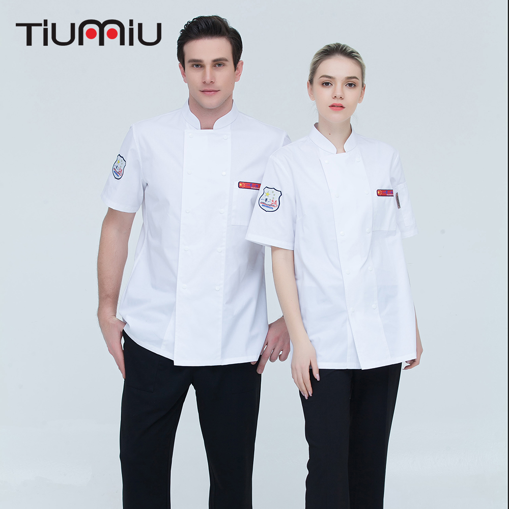High Quality Wholesale Women Men Short-sleeve Double Breasted Kitchen Bakery Sushi Chef Jackets Chinese Restaurant Work Uniforms