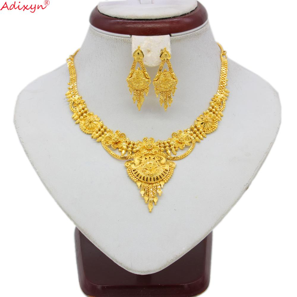 Adixyn NEW African Necklace and Earrings Wedding Women Jewelry set Gold Color/Copper African/Ethiopian/Dubai Party Gifts N06083(China)