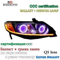 Hireno Modified Headlamp For Honda Civic 2006 2011 Headlight Assembly Car Styling Angel Lens Beam HID