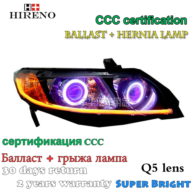Hireno Modified Headlamp for Honda Civic 2006-2011 Headlight Assembly Car styling Angel Lens Beam HID Xenon 2 pcs hireno headlamp for cadillac xt5 2016 2018 headlight headlight assembly led drl angel lens double beam hid xenon 2pcs