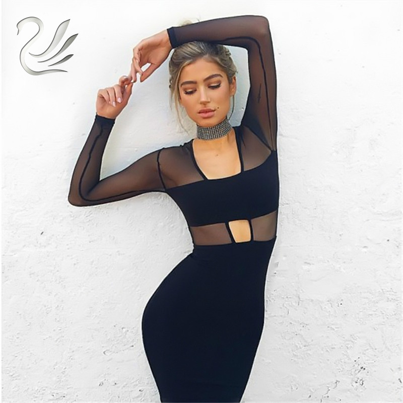 2017 Brand Women Party Dresses Black Robe Mesh V Neck Long Sleeve Cut Out Elastic Bodycon