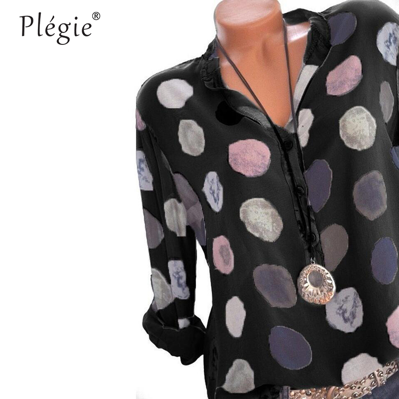 Plegie Womens Tops And Blouses 2018 Women Spring Blusas Shirt Dot Printed Long Sleeves Office Lady Blouse Shirts Blusa Plus Size 1