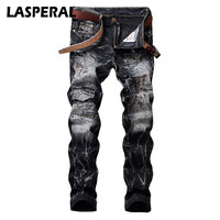 LASPERAL 2017 Sale Jeans Men Distressed Overalls Fashion Jean Straight Designer Clothes Brand Clothing Slim Full
