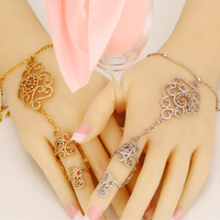Bracelet link finger Turkish Jewelry For Women Fashion Gold And White Crystal Wedding Jewelry 2017 New