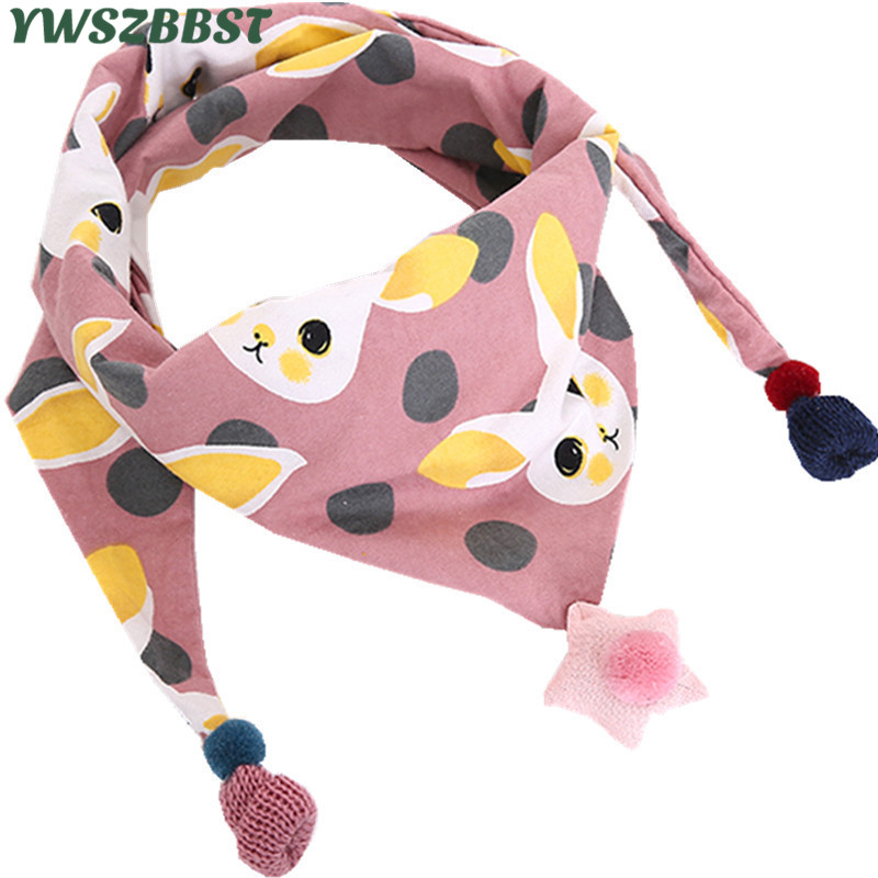 New 2018 Spring Baby Girls Floral Triangle Scarves Autumn Winter Girls Flowers Print Warm Collar Cotton Children Neck Wear Scarf