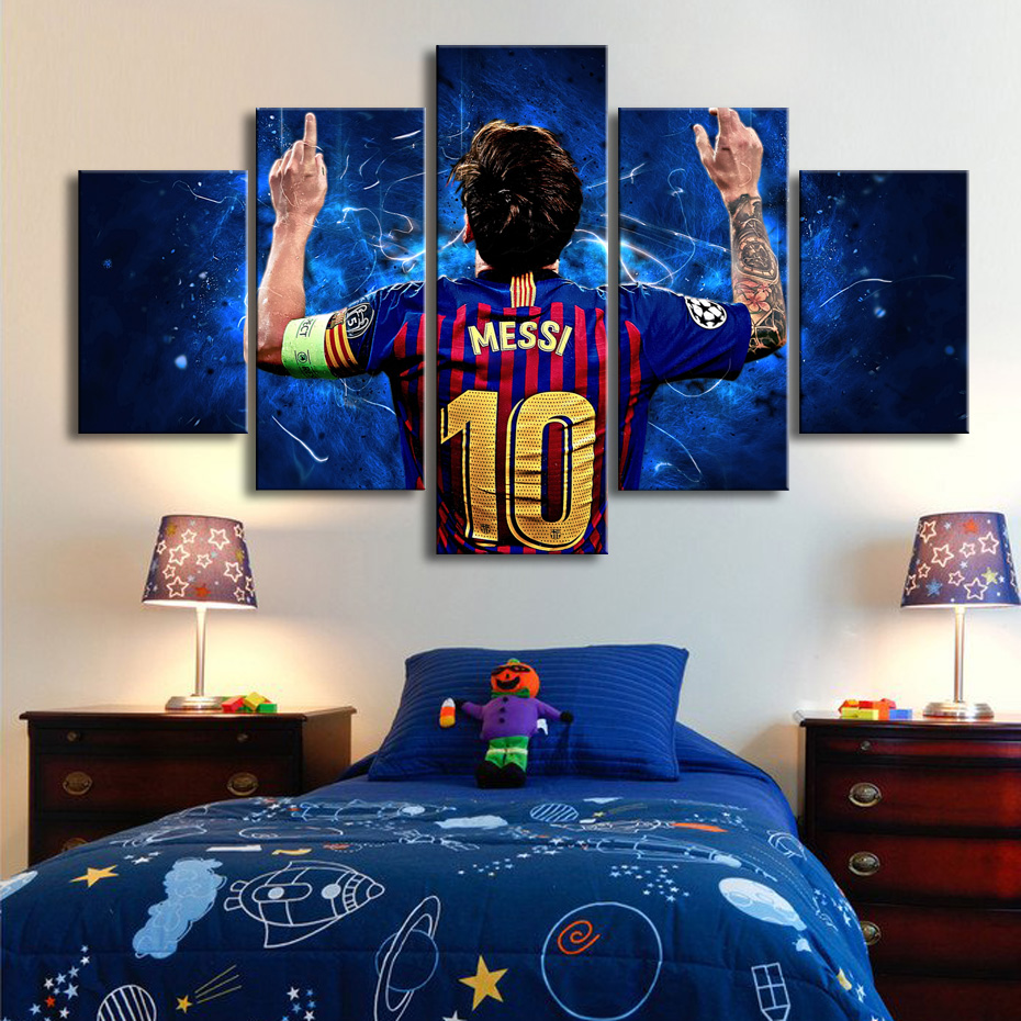 Popular 10 Messi Posters Famous Football Stars 5 Pieces Canvas Paintings Wall Art Sports Print Picture Kids Room Decor Frame