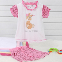 Toddler Baby Girls Clothing Set O-Neck Casual Wear Shorts Short Sleeves for Summer Wear with Printing in 100% Cotton