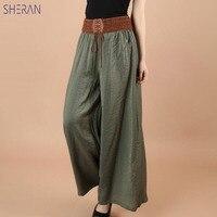SHERAN/2018 хлопковые льняные мягкие широкие женские брюки с эластичной резинкой на талии; однотонные летние свободные брюки; pantalon femme