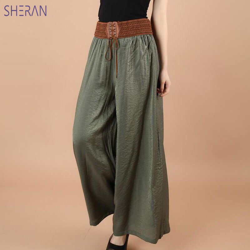 SHERAN 2018 Cotton Linen Soft   Wide     Leg   Women   Pants   Elastic Waist Ankle-Length Solid Color Summer Loose Trouser pantalon femme