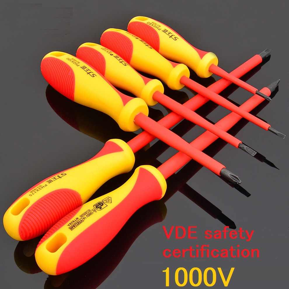 1pc 1000V EDA Insulated Screwdriver Set CR-V Material Professional Electrician Screwdriver Cross Slotted Screw Driver Tools