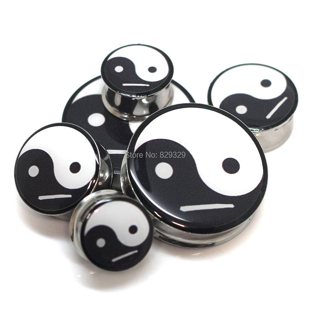1 pair plugs stainless steel Yin Yang logo double flare ear plug gauges tunnel body piercing jewelry PSP0027
