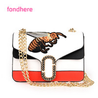 Fondhere 2017 Women Bags Fashion Mini Embroidery Shoulder Bag Ladies Bee Embroidered Handbags Small Lock Crossbody