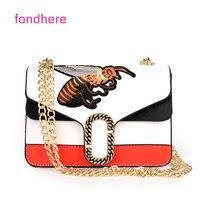 Fondhere 2017 Women Bags Fashion Mini Embroidery Shoulder Bag Ladies Bee Embroidered Handbags Small Lock Crossbody