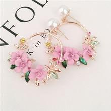 Трендовые милые серьги с розовыми цветами для женщин и девушек, ювелирные изделия, женские Стразы, золотые металлические круглые серьги-капли в подарок, Brincos