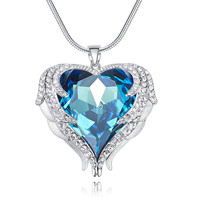 Heezen Luxury Ocean Heart of Angel Crystal Pendant Necklace Blue AB Color Rhinestone Paved Valentines Day Chic Gifts for Women