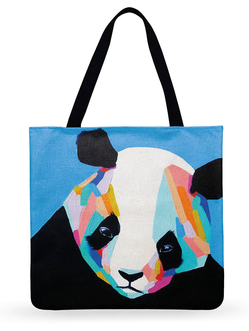 Ladies Shoulder Bag Linen Fabric Bag Casual Foldable Shopping Bag Oil Painting Printed Tote Bag For Women Outdoor Beach Bag