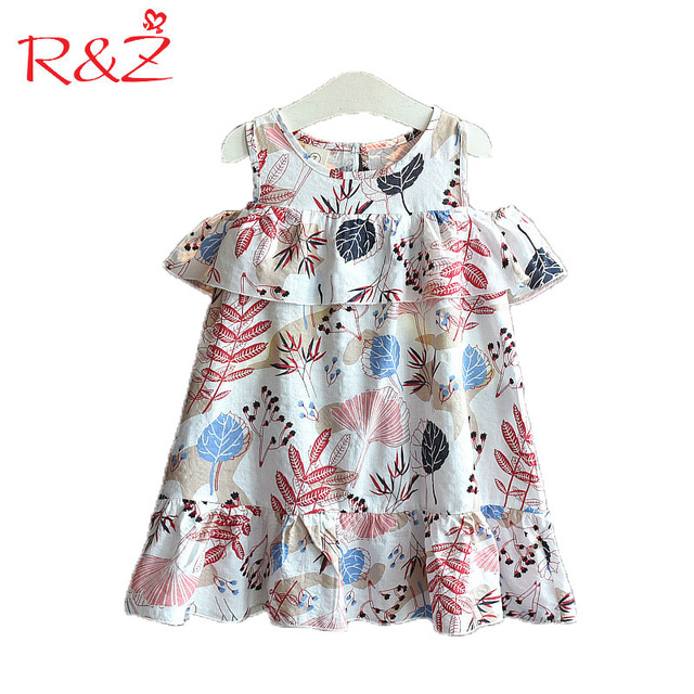 0fab01ef7 R Z Baby Girls Clothes 2018 New Summer Cotton Bare Shoulder Printing ...