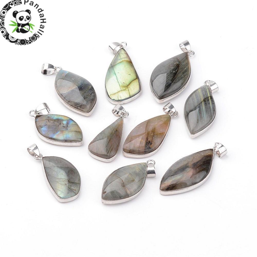 10pcs Natural Labradorite Stone Pendants DIY Jewelry Accessories Making Necklaces Crafts Moonstone Sunstone Charms Irregular