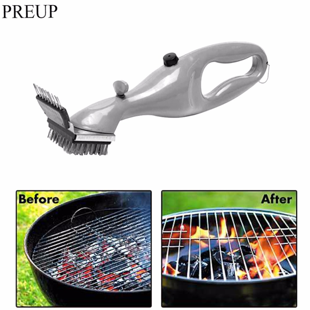 PREUP Barbecue Stainless Steel BBQ Cleaning Brush Churrasco Outdoor Grill Cleaner with Steam Power bbq Accessories Cooking Tools