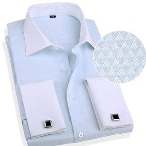 Image 4 - Классическая рубашка с французскими манжетами, однотонная саржевая Мужская рубашка для смокинга вечерние ринки и свадьбы с нагрудным карманом