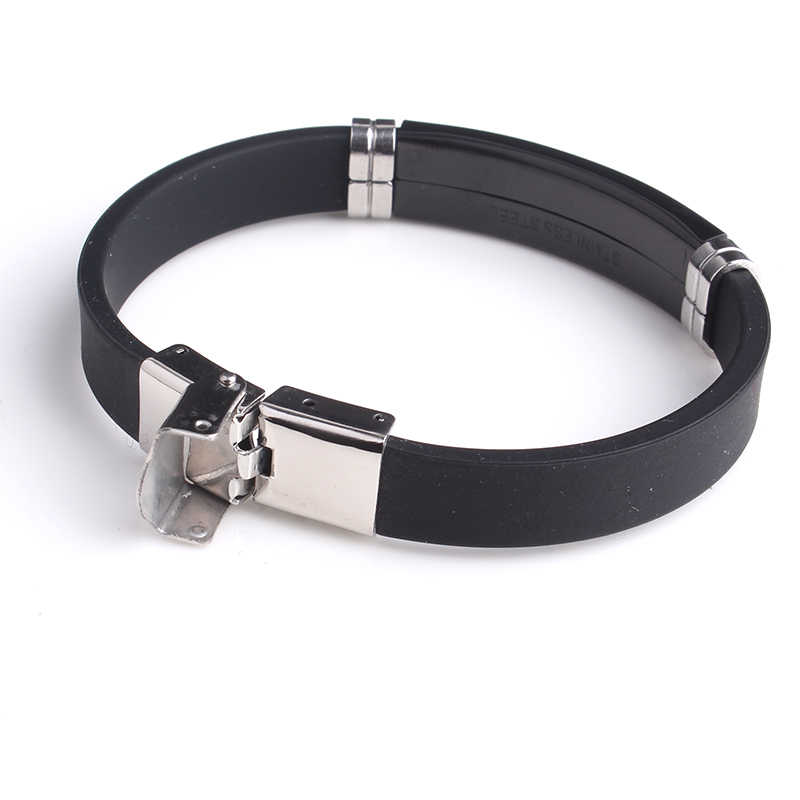Z niestandardowym grawerowaniem nazwa napis logo gładki czarny silikonowa bransoletka typu bangle kobiety 316L ze stali nierdzewnej bransoletki ze stali dla mężczyzn biżuteria