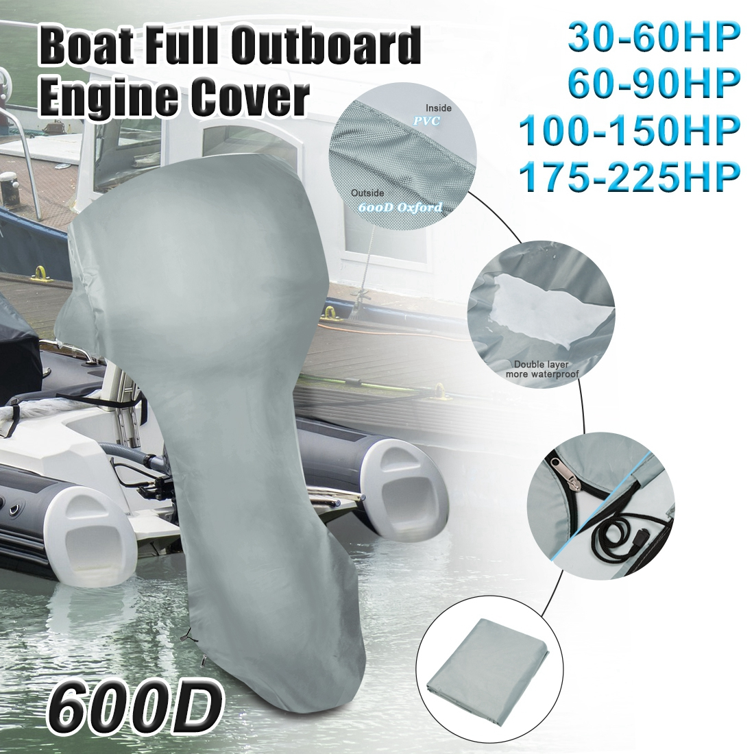 Boat Full Outboard Engine Motor Cover Fits Up to 60-90HP