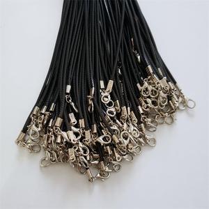 Image 3 - Оптовая продажа 100 шт./лот 2 мм черный воск кожаный шнур веревка ожерелья 45 см с застежкой Омаров шнурок кулон шнуры для diy ювелирных изделий
