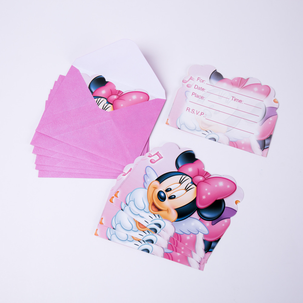 6pcs Cartoon Minnie Party Supplies Invitations Birthday Decoration Mariage Baby Shower happy Party Supplier Wedding Christmas in Cards Invitations from Home Garden