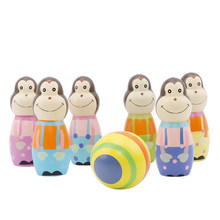 6 Pcs/set Monkey Wooden Figures Indoor Mini Toy Bowling Kids Ball Set Fun Development Game Educational Toys for Children Gift(China)
